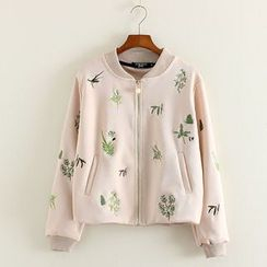 Mushi - Embroidered Baseball Jacket