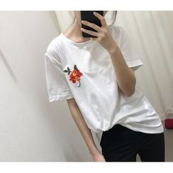 Big Cat - 碎花刺繡短袖T恤