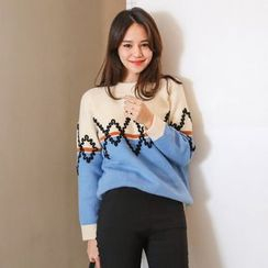 PPGIRL - Embroidered-Detail Color-Block Knit Top