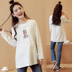 Mamaladies - Long-Sleeved Maternity Crewneck Striped Cotton T-Shirt