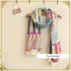 布衣天使 - 花形貼布繡拼布圍巾