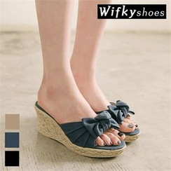 Wifky - Bow-Front Espadrille Wedge-Heel Mules