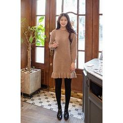 CHERRYKOKO - Frill-Hem Wool Blend Knit Dress