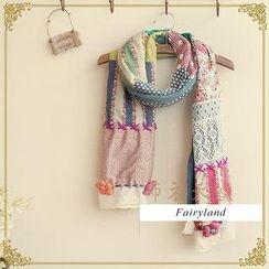 Fairyland - Flower Appliqué Patchwork Scarf