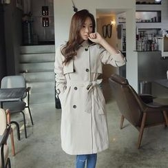 Envy Look - Double-Breasted Trench Coat with Sash