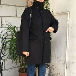 Dute - Stand Collar Single-Breasted Coat
