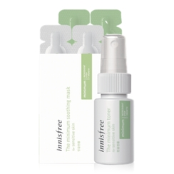 Innisfree - Set of 5: The Minimum 7 Days Toner 20ml + Ampoule Essence 7ml + Moist Cream 7ml + Soothing Mask 4ml + 4ml