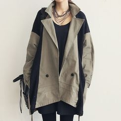 NANING9 - Double-Breasted Knit Trench Coat