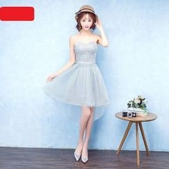 Caramelo - Lace Tulle Short Bridesmaid Dress