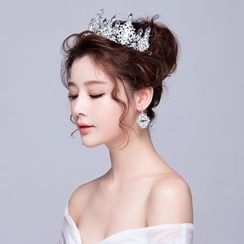Puru Lia - Bridal Set: Rhinestone Tiara + Earrings