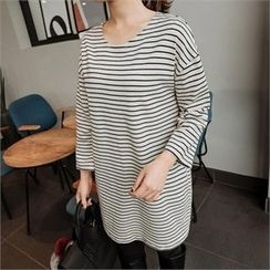 JOAMOM - Drop-Shoulder Striped T-Shirt