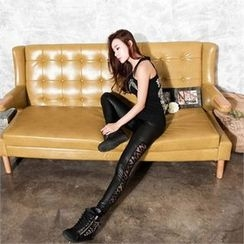 clubber - Lace-Panel Faux-Leather Leggings
