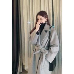 ATTYSTORY - Open-Front Wool Blend Coat With Sash