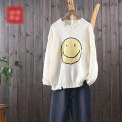 aerokiss - Smiley Face Print Sweater