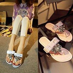 Romantina - Embellished Genuine Leather Thong Sandals