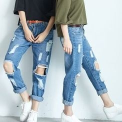 BAIMOMO - Washed Distressed Jeans