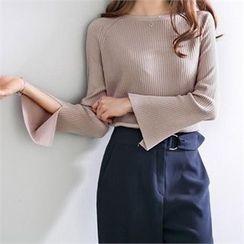 PEPER - Raglan-Sleeve Slit-Detail Knit Top