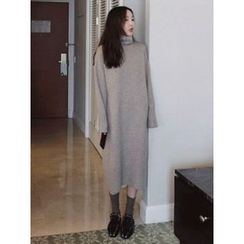 maybe-baby - Turtle-Neck Wool Blend Knit Dress