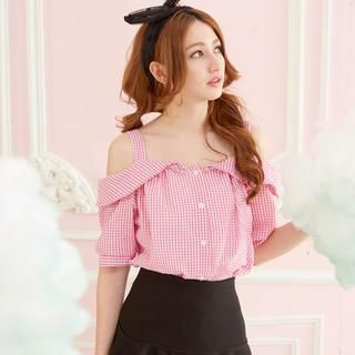 Tokyo Fashion - Off-Shoulder Gingham Buttoned Top
