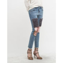 GUMZZI - Faux-Fur Patched Straight-Cut Jeans