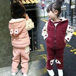 Merry Go Round - Kids Set: Hooded Vest + Polka Dot Sweatshirt + Sweatpants