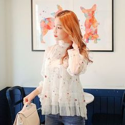 Cherryville - Set: Embroidered Sheer Blouse + Camisole Top