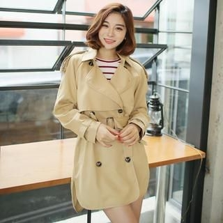 Envy Look - Double-Breasted Cape-Front Trench Coat with Sash