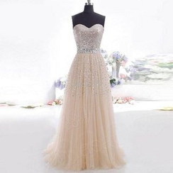 Katemi - Strapless Sequined A-line Evening Gown