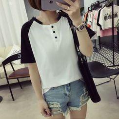 Ukiyo - 短款插肩袖扣领衫T恤