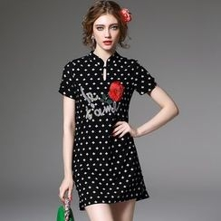 Y:Q - Embroidered Print Short-Sleeve Dress