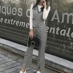 Mukouf - Set: Long-Sleeve T-Shirt + Vest + Wide Leg Pants
