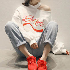 NANING9 - Cutout-Shoulder Lettering Sweatshirt
