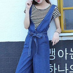 Fashion Street - 散摆宽腿牛仔背带连衣裤