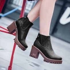 JY Shoes - Block Heel Ankle Boots