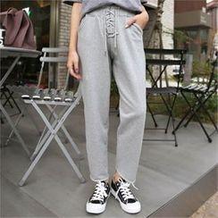 QNIGIRLS - Lace-Up Front Sweat Pants