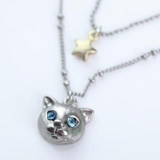 Cuteberry - Rhinestone Cat Necklace