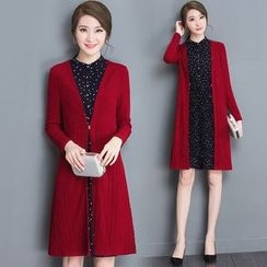 Diosa - Mock Tow Piece Dotted Panel Long Sleeve Dress