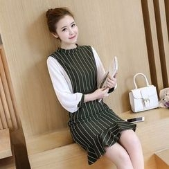 Sienne - Color Panel Striped Long Sleeve Dress