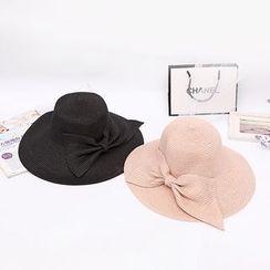 Eva Fashion - Bow-Accent Straw Hat