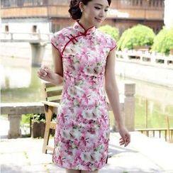 Miss Four Qipao - Cap-Sleeve Floral Cheongsam