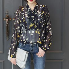 DANI LOVE - Tie-Neck Floral Print Chiffon Top