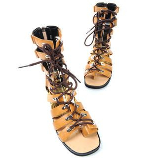 deepstyle - Genuine Leather Lace-Up Gladiator Sandals