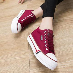 Sidewalk - Platform Lace-up Canvas Sneakers
