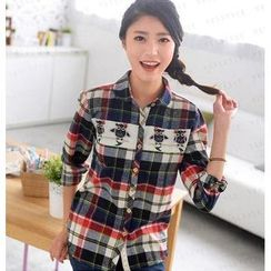 59 Seconds - Owl Appliqué Plaid Shirt