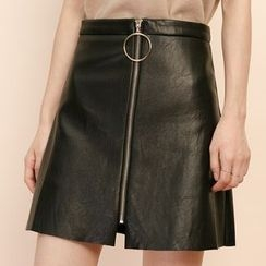 Heynew - Faux Leather Zip Front A-Line Skirt