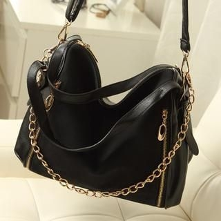 Miss Sweety - Faux Leather Chain Strap Shoulder Bag