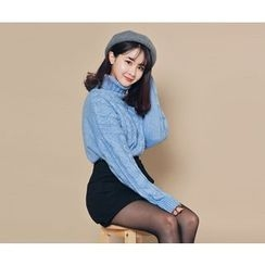 HOTPING - Turtle-Neck Cable-Knit Top