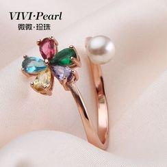 ViVi Pearl - Rhinestone Flower Freshwater Pearl Ring