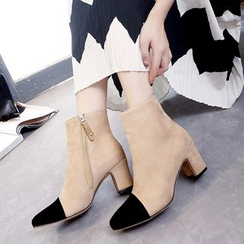 Shoeland - Two-Tone Block Heel Ankle Boots