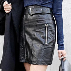 LIPHOP - Zip Detail Faux-Leather Skirt with Belt